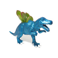 Up-cycled Glittery Blue Allosaurus Dinosaur Planter