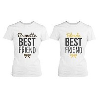 Best Friend Blonde and Brunette Best Friends Matching BFF White Shirts