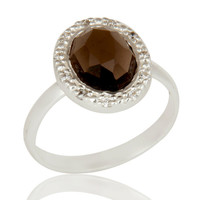 Solid Sterling Silver Smoky Quartz And CZ Statement Ring