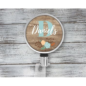 Customized Badge Reel | Personalized Office Accessories | Photo Badge Reel | Faux Wood Floral