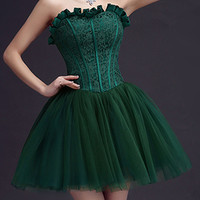 Dark Green Strapless Frill Sweetheart Lace Overlay Homecoming Dress