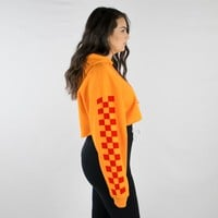 Red Checker Sleeve Cropped Hoodie