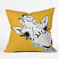 Casey Rogers Giraffe Yellow Throw Pillow