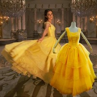 Beauty And The Beast Cosplay Costumes Emma Yellow Dress Bell Cosplay The Beast Lover Halloween Cosplay Costumes Princess Dress