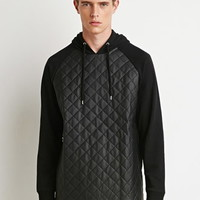 Quilted Faux Leather Hoodie