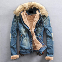 New Fashion Mens Winter Warm Fur Collar Fleece Lining Denim Jacket Coat 2 Color