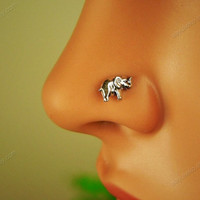 sterling silver elephant nose ring nose stud nose piercing nose jewelry, MSL005