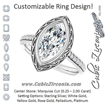 Cubic Zirconia Engagement Ring- The Itzayana (Customizable Cathedral-Bezel Marquise Cut Design featuring Accented Band with Filigree Inlay)