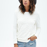 FOREVER 21 Floral Lace Sweatshirt Cream