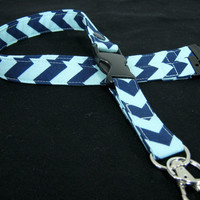 Fabric Lanyard - ID Badge and Key Ring in Aqua and Navy Chevron - With Breakaway and Detachable Side Release Key Ring