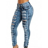 Denim hole high waist buckled feet women jeans