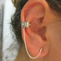 Sterling Silver Ear Cuff Earring with chain Single - Free Shipping