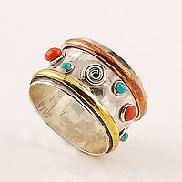 Coral and Turquoise Three Tone Spiral Sterling Silver Ring