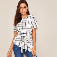 Belted Grid Blouse Women Clothes Elegant Short Sleeve Round Neck Blouse Ladies Tops