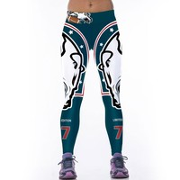 JESSINGSHOW Hot Sexy Sports Fitness Leggings Leggins For Women 3D Printed Broncos American Football Rugby Pants Gym Bodybuilding