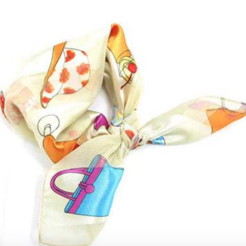 Printed Small Square Satin Scarf, Small Scarves Neck, Cream Beige, Women