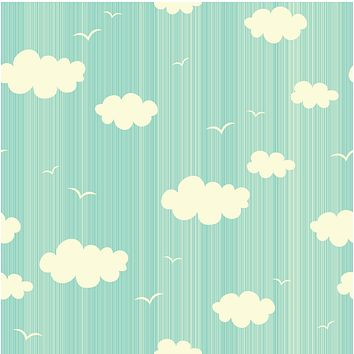 Blue Sky Cartoon Clouds Multicolored Wallpaper Reusable Removable Accent Wall Interior Art (wal060)
