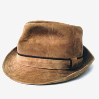Vintage Westbury mens fedora hat authentic genuine suede leather hat brown leather hat leather fall hat mens gift for him country fedora hat