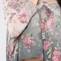 Roses Knit Wide Crop Top