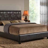 Laqueena collection espresso leather like vinyl woven style padded headboard footboard and rails queen size platform bed set