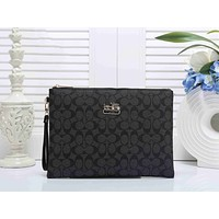 Coach Popular Women Men Shopping Bag Simple Logo Print Leather Zipper Wallet Purse Handbag Black I-KSPJ-BBDL