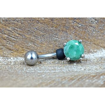 Green Amazonite Gemstone Belly Button Ring Jewelry