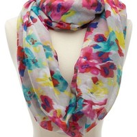 Blurred Floral Print Infinity Scarf