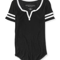Aeropostale Womens Sheer Football Henley