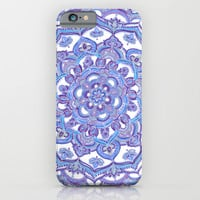 Lilac Spring Mandala - floral doodle pattern in purple & white iPhone & iPod Case by Micklyn