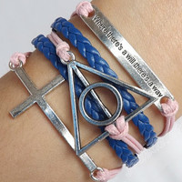 """Antique silver cross bracelet,Harry Potter deathly hallows bracelet& where there's a will there's a way """" bracelet, leather bracelet J-111"""