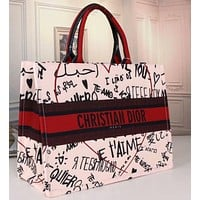Dior classic fashion shoulder bag ladies graffiti pattern large capacity portable shopping bag