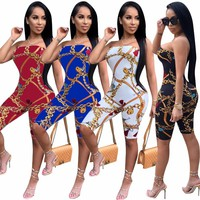 New Off The Shoulder Sexy Bodycon Jumpsuit Women Strapless Chain Print Skinny Catsuit Summer Backless Party Club Romper CM160