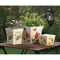 Vintage Inspired Butterfly Birds and Blooms Botanical Garden Planters Set of 3