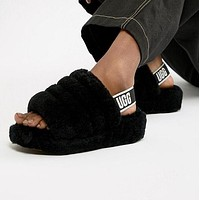 UGG Winter High Quality Autumn Winter Popular Women Cute Fluff Yeah Slippers Shoes Black I/A