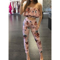 LMFONT Off Shoulder Sexy Floral Print Jumpsuits Two Piece Backless Club Rompers Womens Jumpsuit Strapless Full Bodysuit Summer Overalls