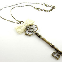 Antique Key Necklace Pendant with Off White Ribbon Bow Tie Unique Handmade Jewelry