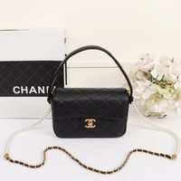 New Designer CHANE SIZE 19-12-6cm Double C Women Leather silver and gold on Chain cross body bag Chane vintage Chanl jumbo Handbag tote shoulder bags