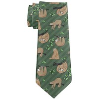 Sloth Pattern Nature Leaves Cute All Over Neck Tie