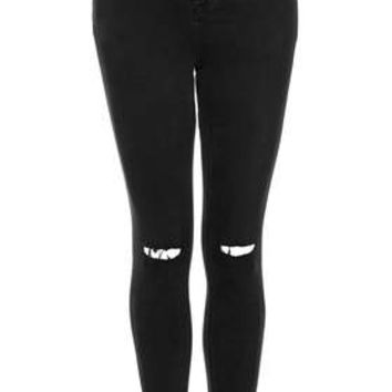 Tall MOTO Black Ripped Jamie Jeans - Black