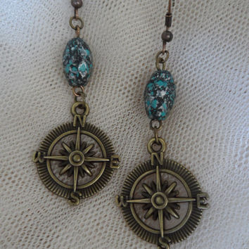Compass Earrings, Steampunk, Aqua, Beads, Hanging, Shabby Chic, Golden  S05