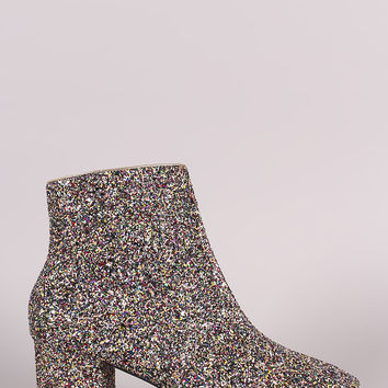 Glitter Block Heeled Ankle Boots