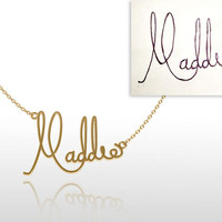 Signature  Necklace -Personalized jewelry Gold Fill 14K  Name necklace, initial necklace, handwriting necklace