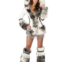 White Eskimo Hooded Coat Costume @ Amiclubwear costume Online Store,sexy costume,women's costume,christmas costumes,adult christmas costumes,santa claus costumes,fancy dress costumes,halloween costumes,halloween costume ideas,pirate costume,dance cos