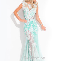 Sheer Back With Cut Out Formal Prom Dress By Rachel Allan 6846