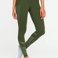 Mid-Rise 7/8-Length Mesh-Panel Compression Leggings for Women  old-navy