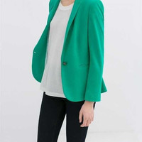 Green Notched Long-Sleeve Button Blazer
