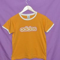 Vintage 1990s Adidas Sports Athletic Small Size Ringer Women T-Shirt