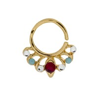 Jeweled Garnet, Clear, and Turquoise Europa Ring