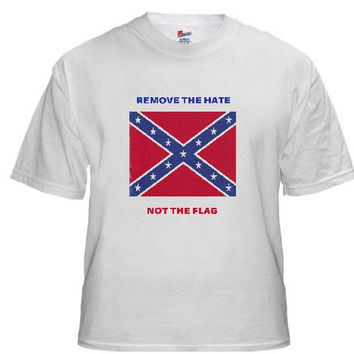 Confederate Flag Short Sleeve T-shirt Remove The Hate Not The Flag (White)