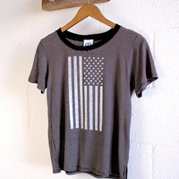 American Flag Shirt USA  Fourth of July Clothing Sparkly Glitter Shirt Loose Fit Womens Tee American Flag Gray and Black Stripes Cropped Tee